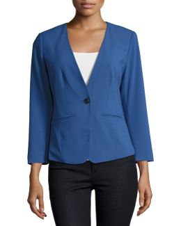 One-button Long-sleeve Blazer
