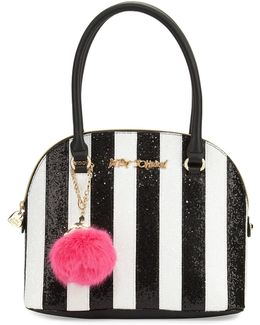 Candy Cane Striped Dome Satchel Bag