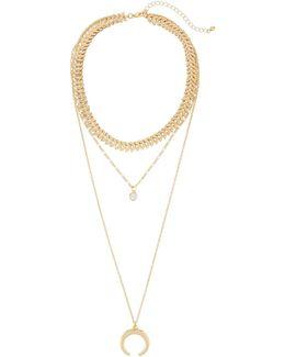 Triple-row Layered Choker Necklace W/ Tusk Pendant