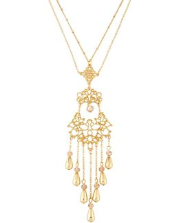 Long Filigree Tassel Pendant Necklace