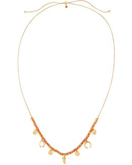 Crystal-beaded Pull-tie Charm Necklace