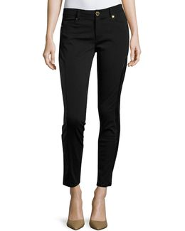 Faux-leather Panel Moto Skinny Pants