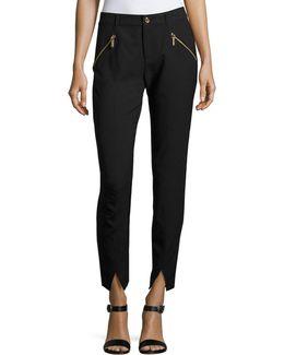 Zip-pocket Knit Ankle Pants