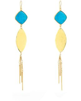 Turquoise Leaf Fringe Dangle Earrings