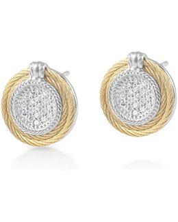 Classique Round Pave Diamond Stud Earrings