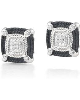 Noir Square Micro-cable Diamond Stud Earrings