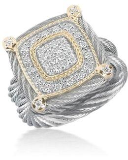 Classique Square Micro-cable Ring W/ Diamonds