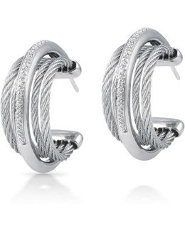 Classique Micro-cable Pave Diamond Hoop Earrings