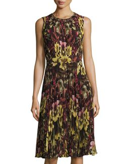 Pleated Floral-print Chiffon Dress