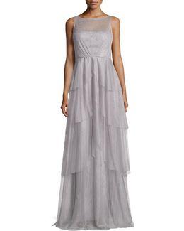 Illusion-neck Layered-mesh Dress