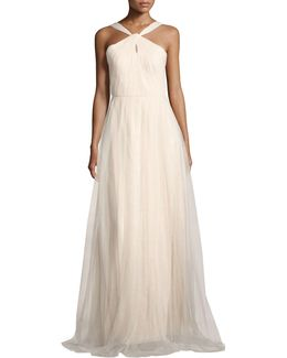 Keyhole Halter-neck Mesh Gown