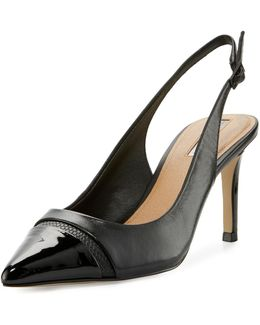 Podium Cap-toe Slingback Pump