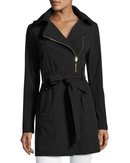 Belted Asymmetric Soft-shell Trench Coat