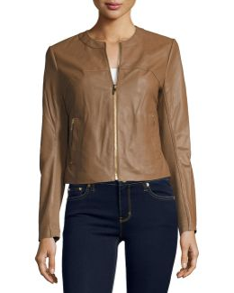 Collarless Zip-front Leather Jacket