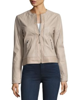 Zip-front Collarless Leather Jacket
