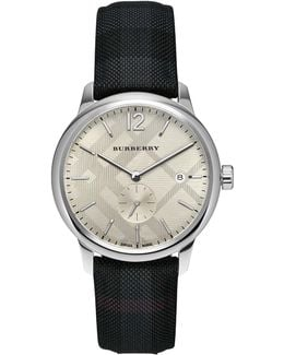 40mm Classic Round Watch With Leather Strap