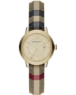 32mm Classic Round Watch W/ Check Fabric Strap