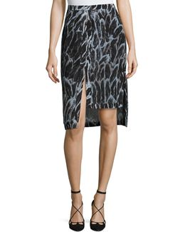 Tiered-hem Feather-print Skirt