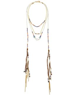 Multi-row Beaded Suede Lariat Necklace