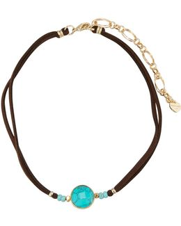 Leather Choker Necklace W/ Turquoise-hued Stone