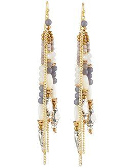 Beaded Tassel Fringe Earrings