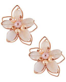Beaded Flower Stud Earrings