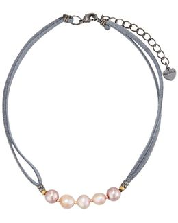Freshwater Pearl & Leather Choker Necklace
