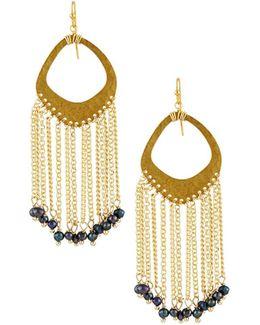 Textured Pearl Fringe Earrings