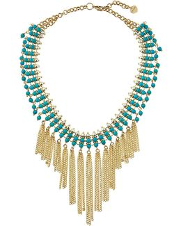 Beaded Statement Fringed Choker Necklace