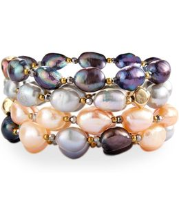 Multihued Baroque Pearl Stretch Bracelets