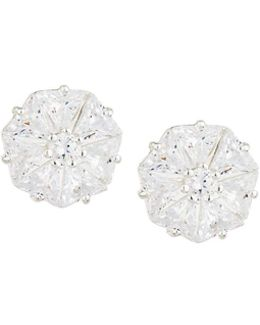 Faceted Round Cz Stud Earrings