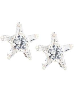 Cz Crystal Bow Stud Earrings
