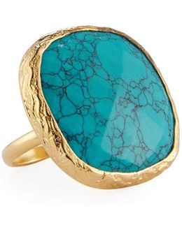 Adjustable Simulated Turquoise Cocktail Ring