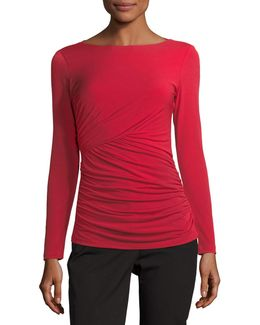 Ruched Long-sleeve Tee