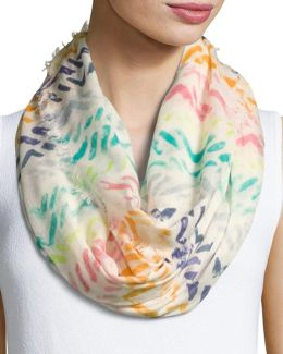 Abstract-print Eternity Scarf