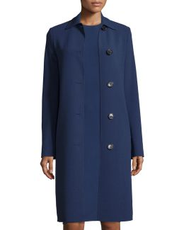 Long-sleeve Button-front Reefer Coat