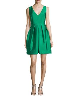 Sleeveless Pleated Taffeta Mini Dress