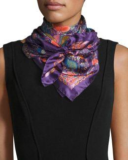 Foulard Floral-print Silk Square Scarf