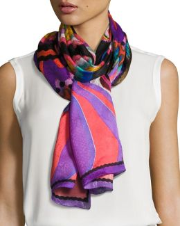 Floral-print Silk Stole Scarf