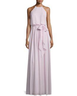 Alana Tie-waist Chiffon Gown