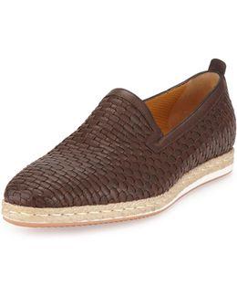 Woven Leather Slip-on Espadrille
