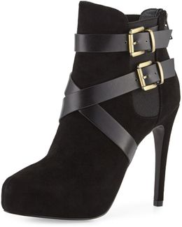 Fame Leather And Suede Platform Bootie