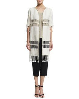 Rowena Fringe-striped Long Coat