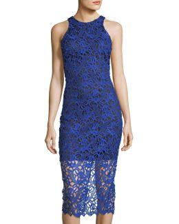 Lace Overlay Midi Dress
