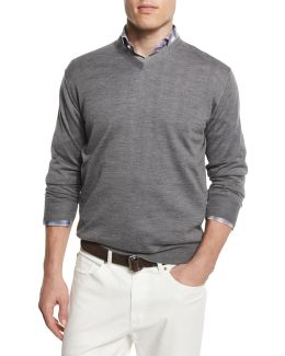 Silk-blend V-neck Sweater