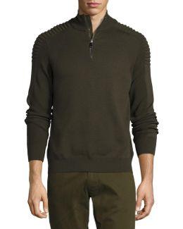 Ribbed Merino Wool Half-zip Pullover