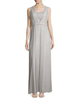 Sleeveless Sequin-front Pleated Gown