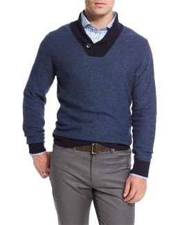 Contrast Shawl-collar Pullover Sweater