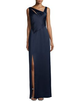 Sleeveless Asymmetric-neck Column Gown
