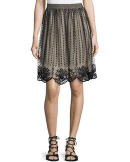 Embroidered Sheer-overlay Skirt